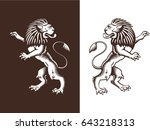 standing proud lion. royal... | Shutterstock .eps vector #643218313
