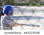 young boy practicing hitting... | Shutterstock . vector #643219108
