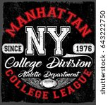 new york sport wear typography...   Shutterstock . vector #643222750