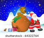 santa clause carry sack ... | Shutterstock . vector #64322764
