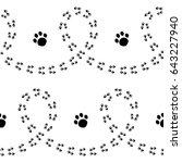 paw print seamless pattern... | Shutterstock .eps vector #643227940