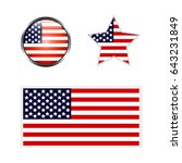 icons of american flag on white ... | Shutterstock . vector #643231849