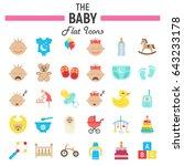 baby flat icon set  kid symbols ... | Shutterstock .eps vector #643233178