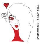 beautiful stylized doodle girl... | Shutterstock .eps vector #643245568