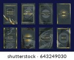 golden frame design set... | Shutterstock .eps vector #643249030