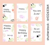 happy birthday and invitations. ... | Shutterstock .eps vector #643263364