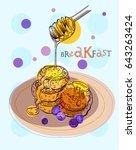 sweet breakfast with fruits ...   Shutterstock .eps vector #643263424