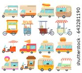 street food vehicles icons set. ... | Shutterstock . vector #643281190