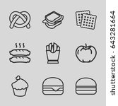snack icons set. set of 9 snack ... | Shutterstock .eps vector #643281664