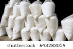 Small photo of Salt in plastic bags for sale in shop retail and wholesale beside the rural highway at Samutsongkram province of Thailand, Isolate and clipping paths.