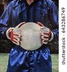 soccer goalie football player... | Shutterstock . vector #643286749