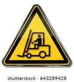 caution forklift and dangerous...   Shutterstock . vector #643289428