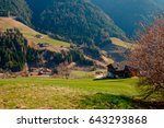 spring in the dolomites. a view ... | Shutterstock . vector #643293868