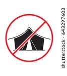no camping allowed not tent... | Shutterstock .eps vector #643297603