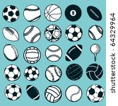 set ball sports icons symbols... | Shutterstock .eps vector #64329964