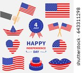 happy independence day icon set.... | Shutterstock .eps vector #643311298