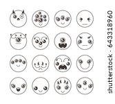 set of cute lovely kawaii... | Shutterstock . vector #643318960