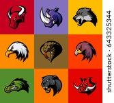 bull  rhino  wolf  eagle  cobra ... | Shutterstock .eps vector #643325344