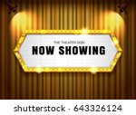 theater sign gold frame on... | Shutterstock .eps vector #643326124