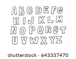hand drawn abc  doodle style.... | Shutterstock . vector #643337470
