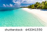 beautiful beach. idyllic... | Shutterstock . vector #643341550