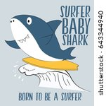 surfer shark illustration... | Shutterstock .eps vector #643344940