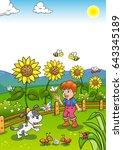 little gardener boy with... | Shutterstock .eps vector #643345189
