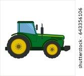 green tractor flat vector... | Shutterstock .eps vector #643356106