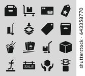 cardboard icons set. set of 16... | Shutterstock .eps vector #643358770