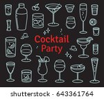 set of cocktails and alcohol... | Shutterstock .eps vector #643361764