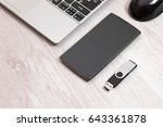 elevated view usb storage back... | Shutterstock . vector #643361878