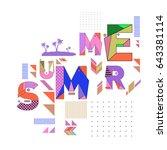 trendy vector summer cards... | Shutterstock .eps vector #643381114