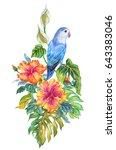parrot among tropical plants.... | Shutterstock . vector #643383046