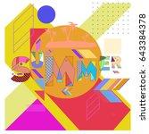 trendy vector summer... | Shutterstock .eps vector #643384378