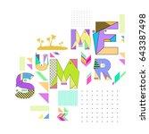 trendy vector summer cards... | Shutterstock .eps vector #643387498