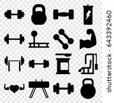bodybuilding icons set. set of... | Shutterstock .eps vector #643392460