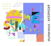 trendy vector summer cards... | Shutterstock .eps vector #643394269
