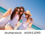 three cute and sexy girls in...   Shutterstock . vector #643411090