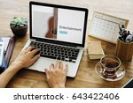 music concept on a device screen | Shutterstock . vector #643422406