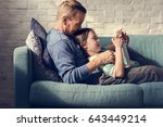 father daughter spend time... | Shutterstock . vector #643449214