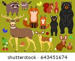 woodland animals parents and... | Shutterstock .eps vector #643451674