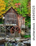 Red Water Wheel On Old Grist...