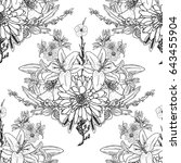 doodle floral drawing seamless... | Shutterstock . vector #643455904