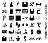 fitness icons set. set of 36... | Shutterstock .eps vector #643466530