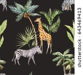 watercolor tropical pattern.... | Shutterstock . vector #643469413