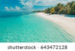 tropical beach background with... | Shutterstock . vector #643472128