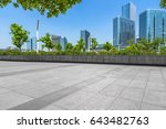 empty pavement and modern... | Shutterstock . vector #643482763