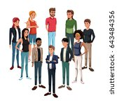 goup of young people standing | Shutterstock .eps vector #643484356