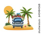cartoon couple luggage car... | Shutterstock .eps vector #643484368