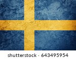 Small photo of Grunge Sweden flag. Sweden flag with grunge texture.